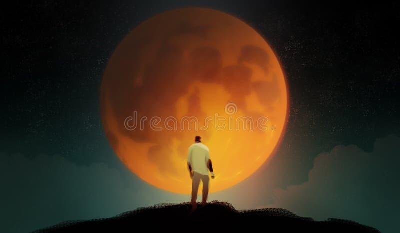 Digitale illustratiekunst het schilderen stijl een mens die zich op bevinden hallo royalty-vrije illustratie