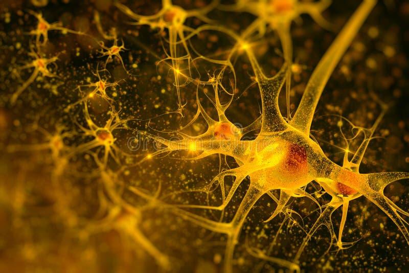 Digitale illustratieneuronen stock afbeeldingen