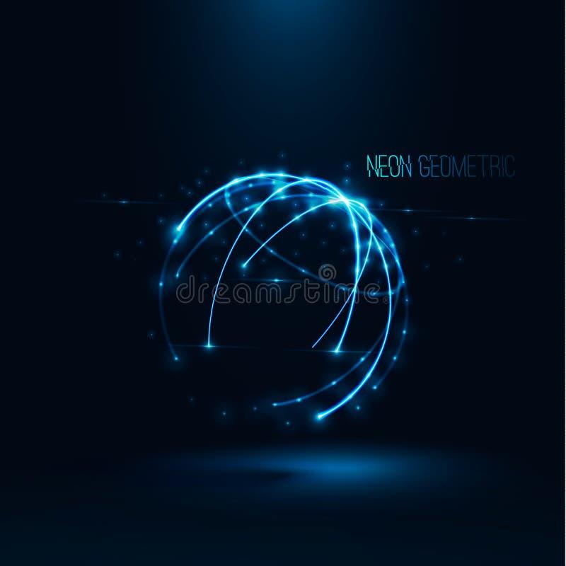 Digitale Illustration des Planeten 3d abstrakten geometrischen Technologieform Vektors stockfotos