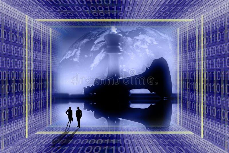 Digitale, industriële oorlog concep stock illustratie