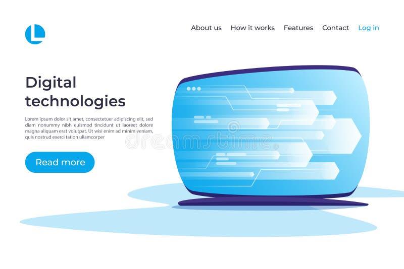 Digitale informatietechnologie, voorzien van een netwerk, gegevens - verwerking ve vector illustratie