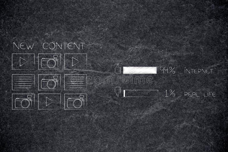 Digitale inhoud naast onderzoek 99 percenten Internet 1 percent r stock fotografie