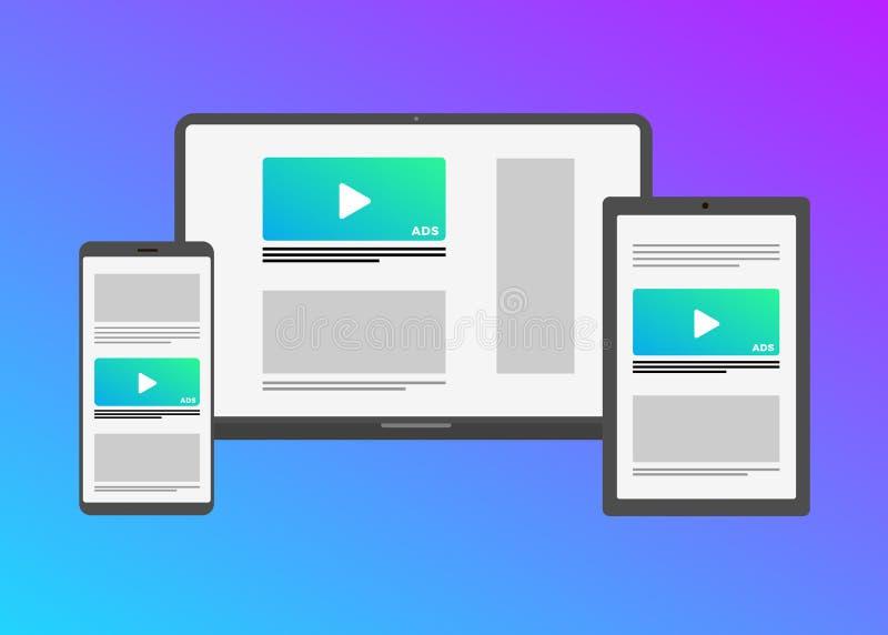 Digitale inhoud in veelvoudig apparaat en platform vector illustratie