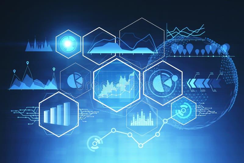 Digitale interface met grafieken en gegevens stock illustratie