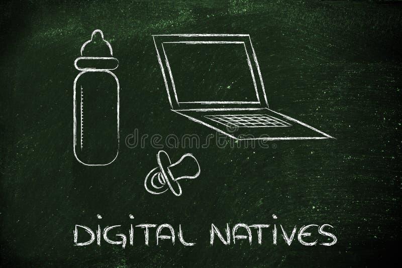 Digitale inwoners: laptop, het voeden fles en pa stock illustratie