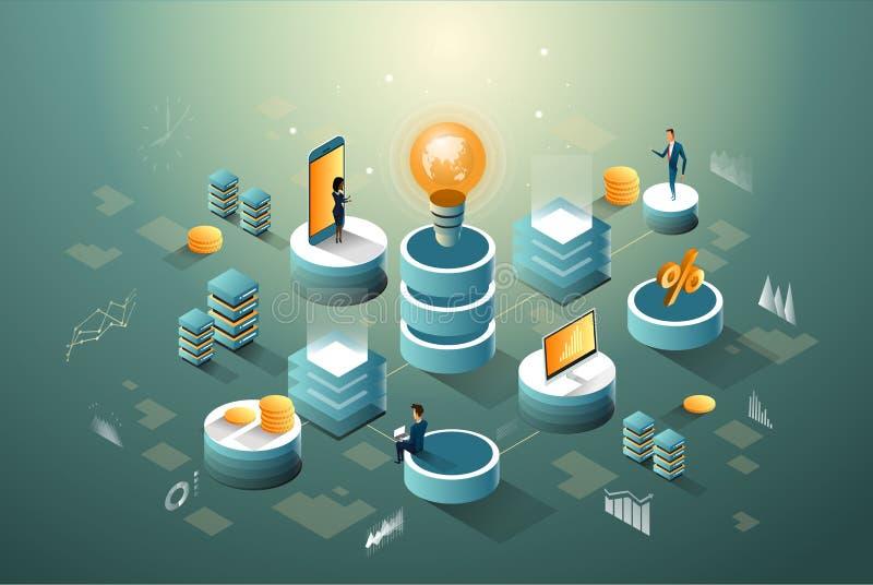 Digitale kern, bedrijfs, financiën en van netwerkengegevens isometrische infographic met idee van mensen vector illustratie