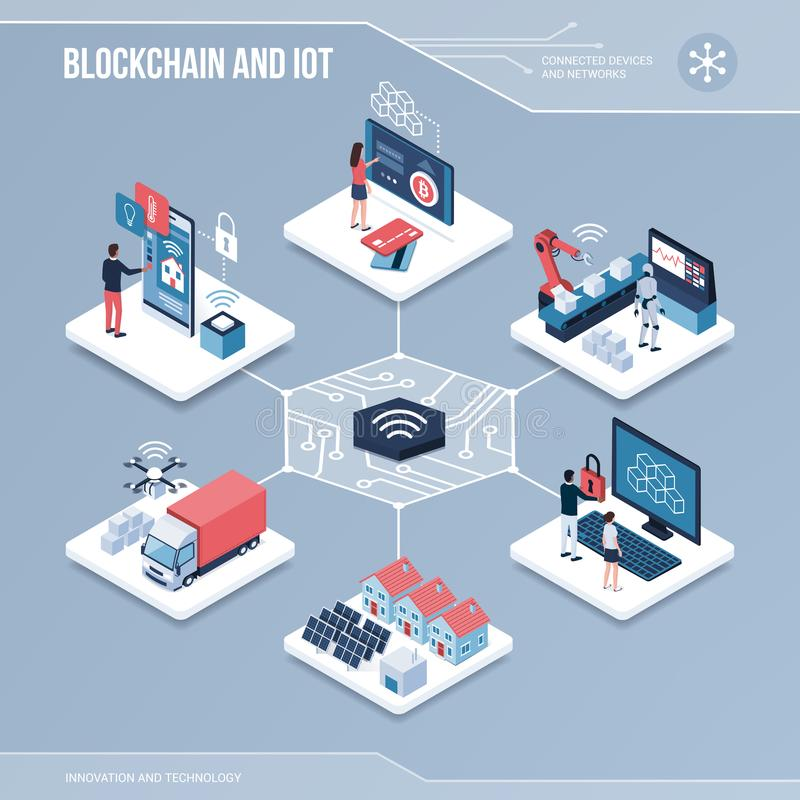 Digitale kern: blockchain en iot vector illustratie