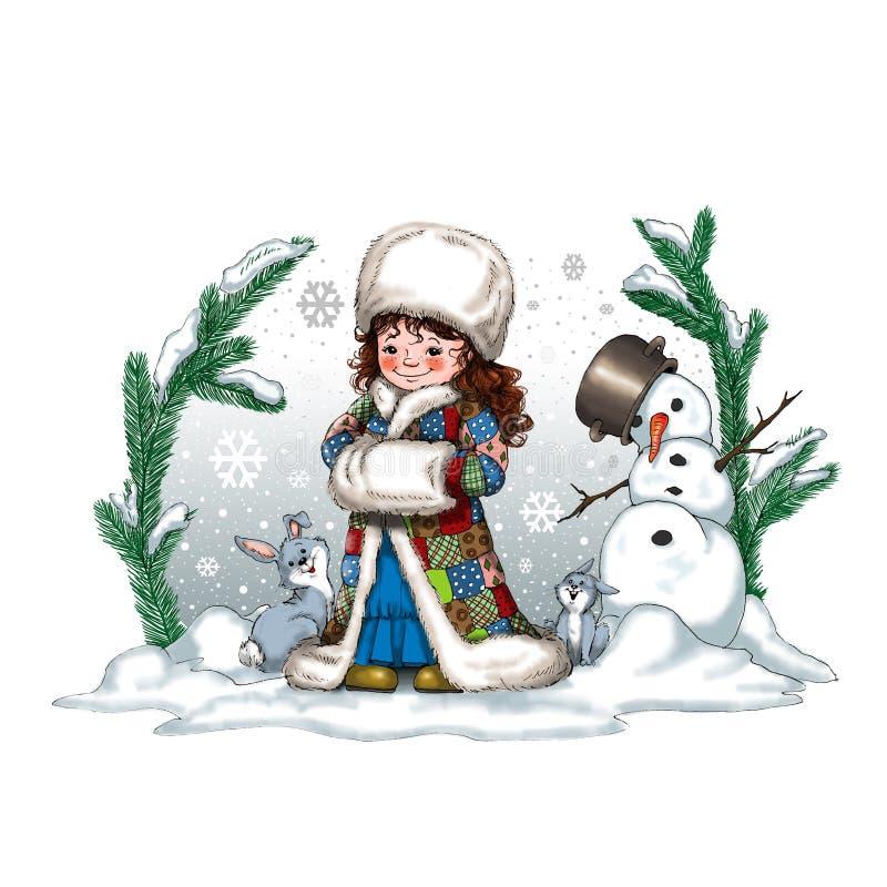 Digitale Kerstmisillustratie met een klein meisje twee leuke konijnen en een sneeuwman stock foto's