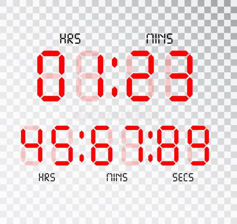 Digitale klok Calculator digitale aantallen Wekkerbrieven Aantallen voor een digitaal horloge en andere elektronische apparaten w royalty-vrije illustratie
