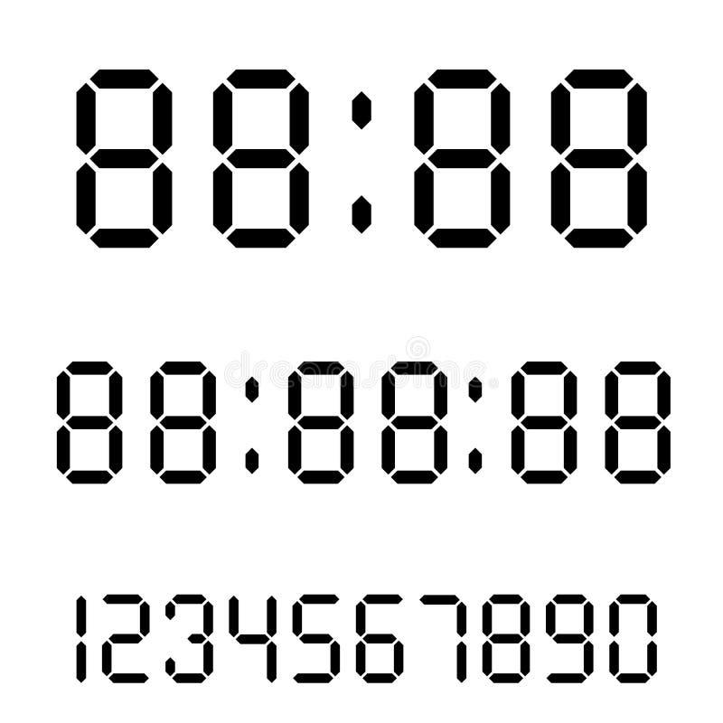 Digitale klok Calculator digitale aantallen Wekkerbrieven Aantallen voor een digitaal horloge en andere elektronische apparaten w vector illustratie