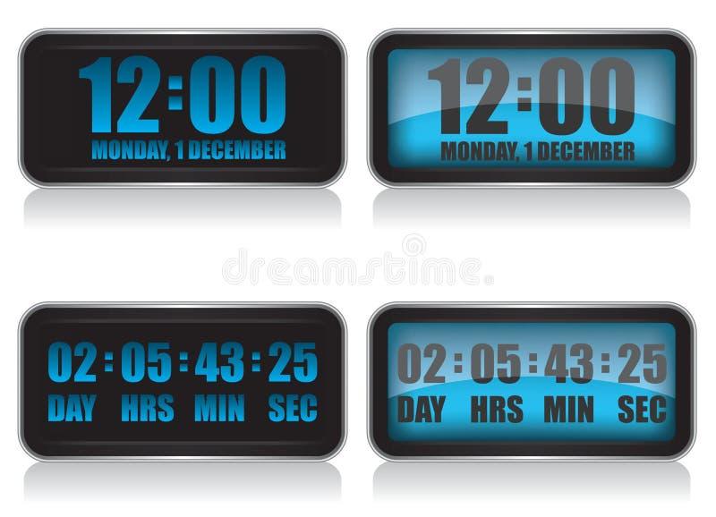 Digitale klok en aftelprocedureillustratie stock illustratie