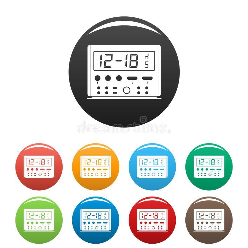 Digitale klokpictogrammen geplaatst kleur stock illustratie