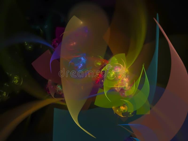 Digitale kreative Energie des abstrakten Fractalfarbhintergrundes, Schablonen-Wiedergabeillustration vektor abbildung