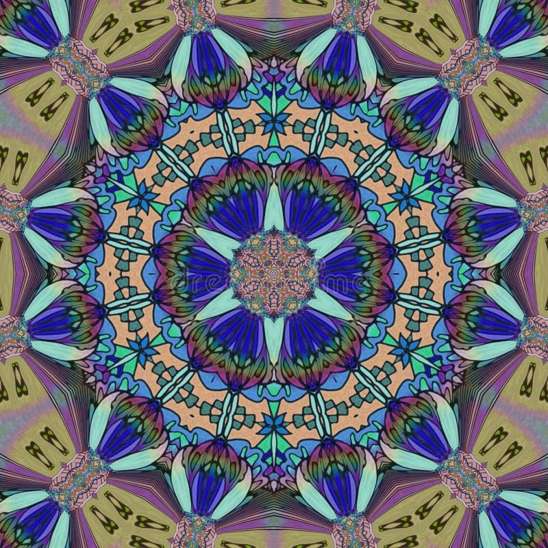 Digitale Kunst der Kaleidoskopzusammenfassung mit blauen Farben lizenzfreie abbildung
