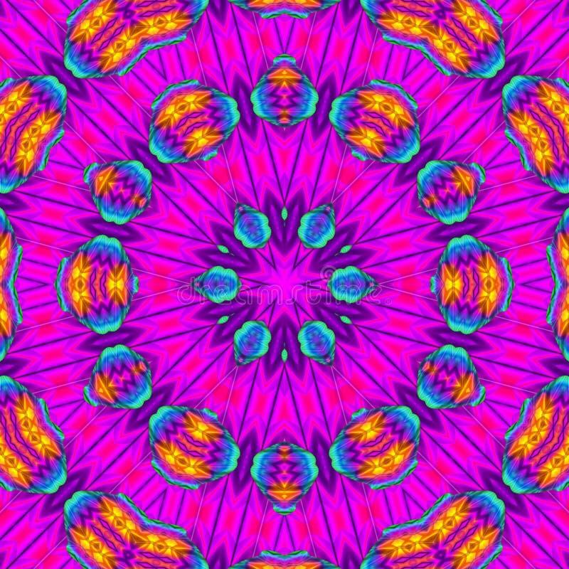 Digitale Kunst des Kaleidoskops mit hellrosa Farben lizenzfreie abbildung