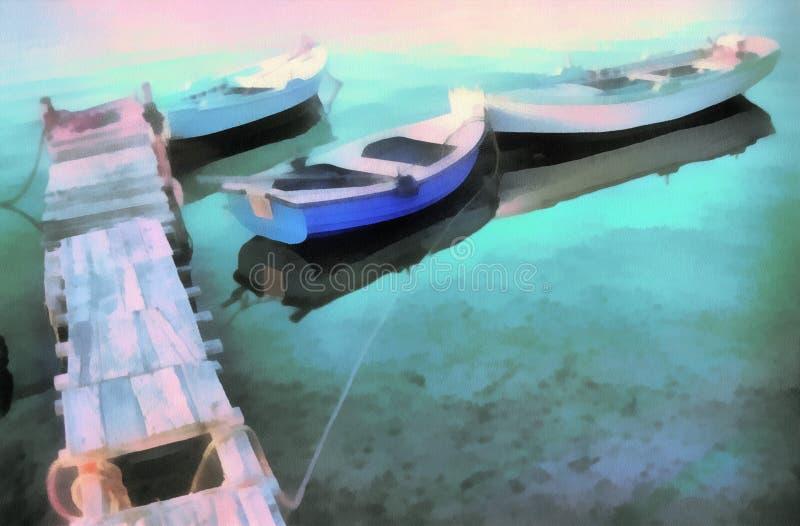 Digitale kunst die - architectuur oude boot schilderen vector illustratie