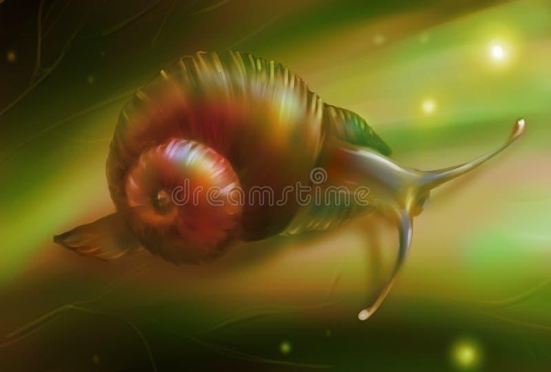 Digitale kunst van een slak op het blad royalty-vrije illustratie