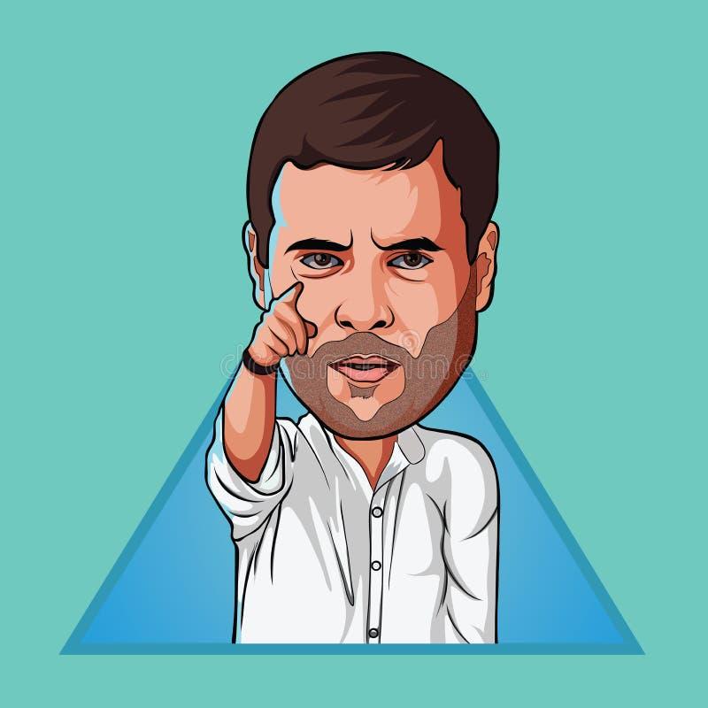 Digitale Kunst van Rahul Gandhi stock illustratie
