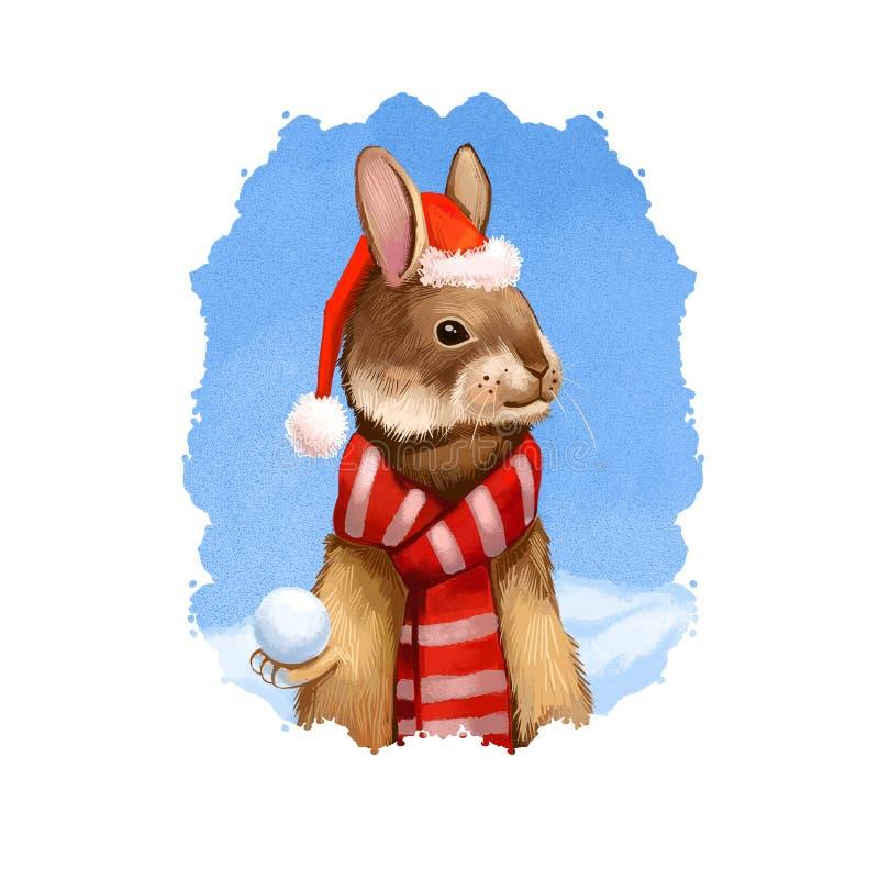 Digitale kunstillustratie van hazen in de warme rode sjaal van de Kerstman de hoed en Vrolijke Kerstmis en Gelukkig de kaartontwe stock illustratie