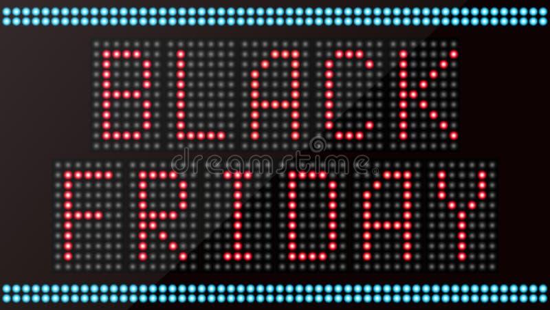 Digitale leiden de woord zwarte vrijdag op zwarte achtergrond stock illustratie