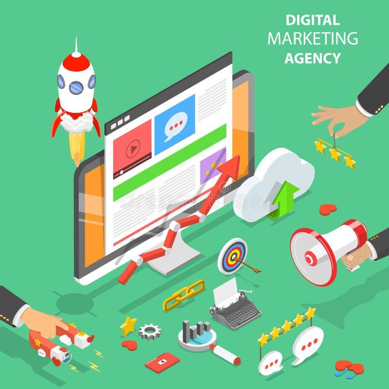 Digitale marketing agentschap vlakke isometrische vector royalty-vrije illustratie