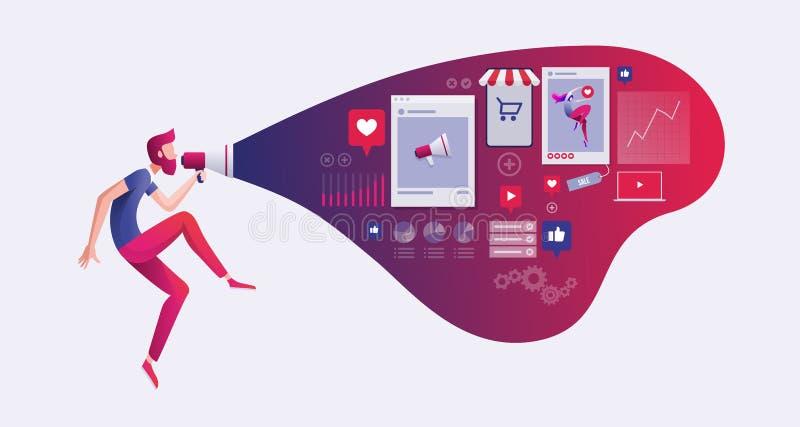 Digitale marketing concepten vectorillustratie vector illustratie