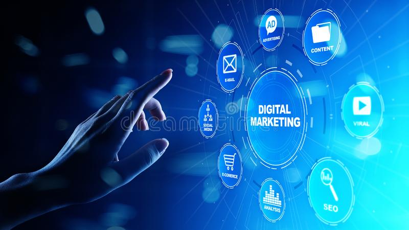 Digitale marketing die, online, SEO, SEM, SMM adverteren Zaken en Internet-concept stock afbeelding