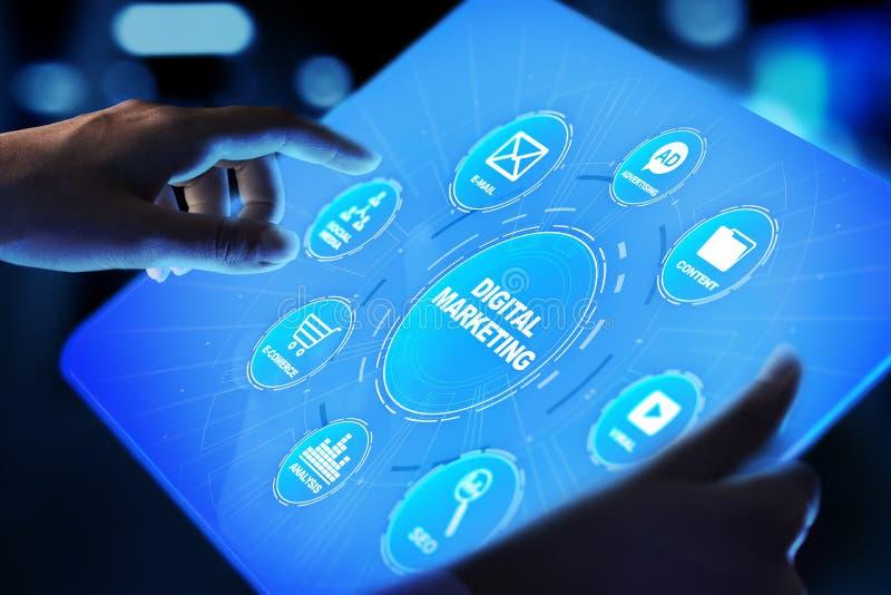 Digitale marketing die, online, SEO, SEM, SMM adverteren Zaken en Internet-concept stock foto