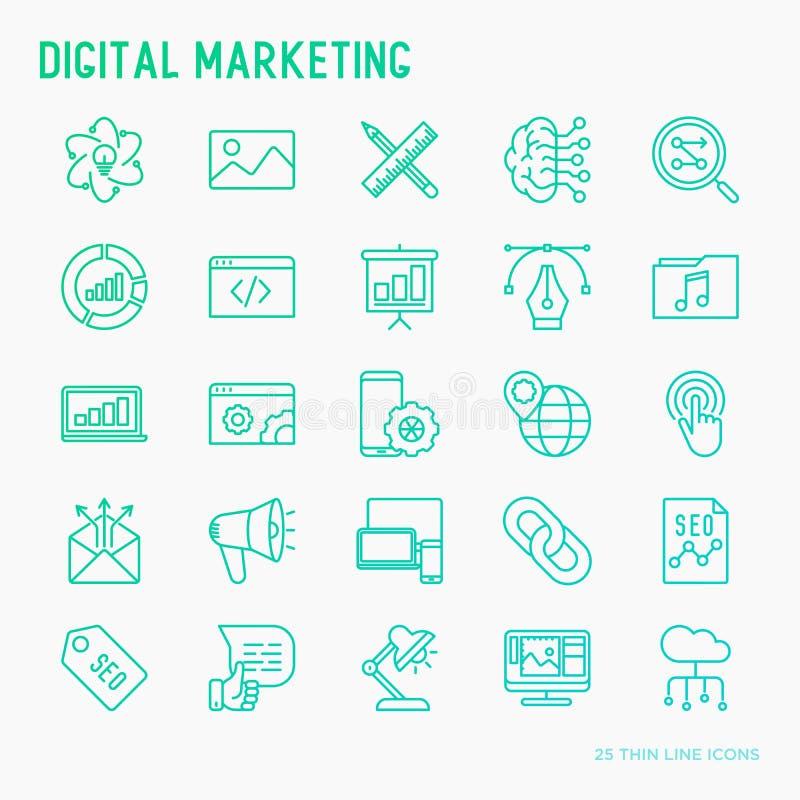 Digitale marketing dunne geplaatste lijnpictogrammen royalty-vrije illustratie