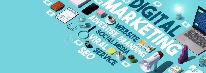 Digitale marketing en sociale media wolkenmarkering royalty-vrije stock foto's