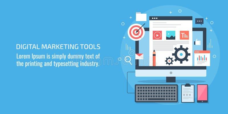Digitale marketing hulpmiddelen, het werkplaats, digitaal apparaat, inhoud, softwareconcept, Vlakke ontwerp vectorbanner vector illustratie