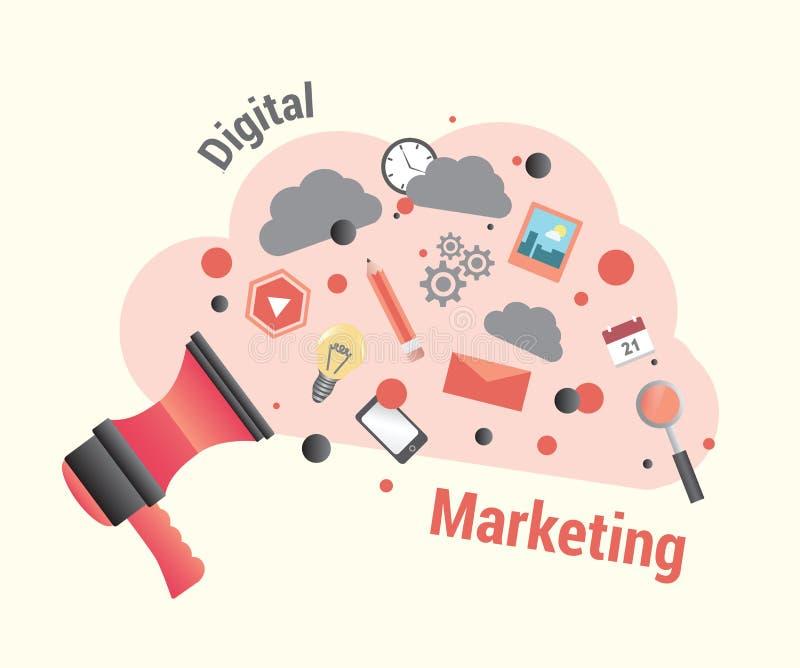 Digitale marketing met luidspreker stock illustratie