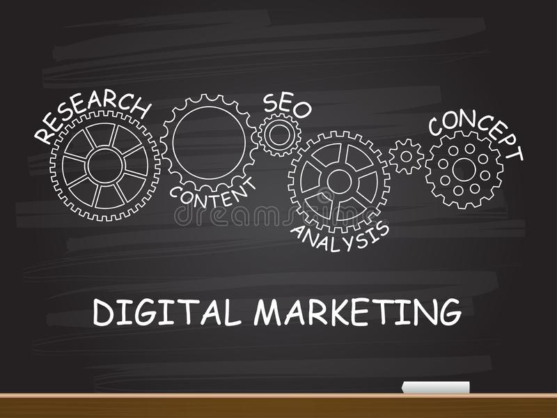 Digitale Marketing met toestelconcept op bord Vector illustratie royalty-vrije illustratie