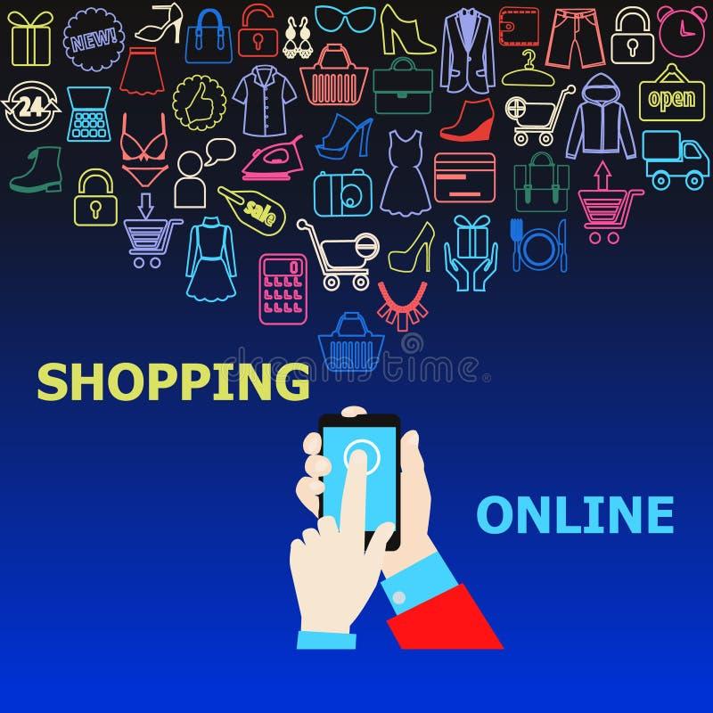 Digitale marketing patroonillustratie als achtergrond stock illustratie