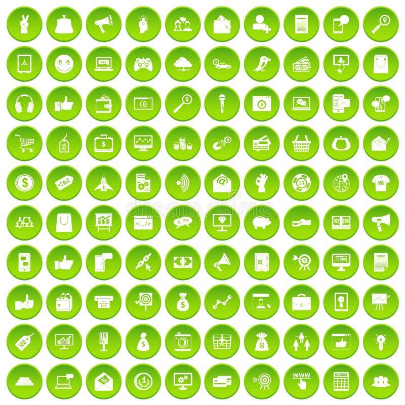 100 digitale marketing pictogrammen geplaatst groene cirkel vector illustratie
