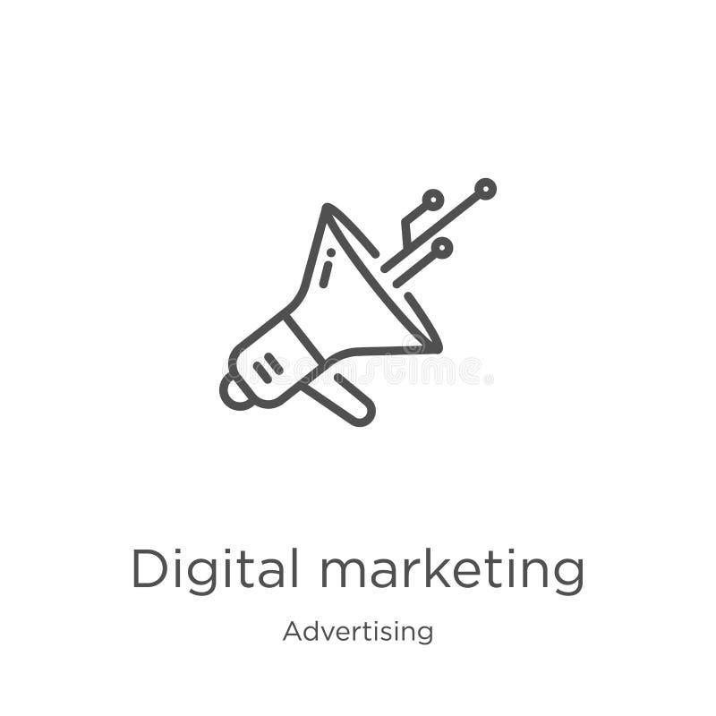 digitale marketing pictogramvector van reclameinzameling De dunne lijn digitale marketing vectorillustratie van het overzichtspic royalty-vrije illustratie