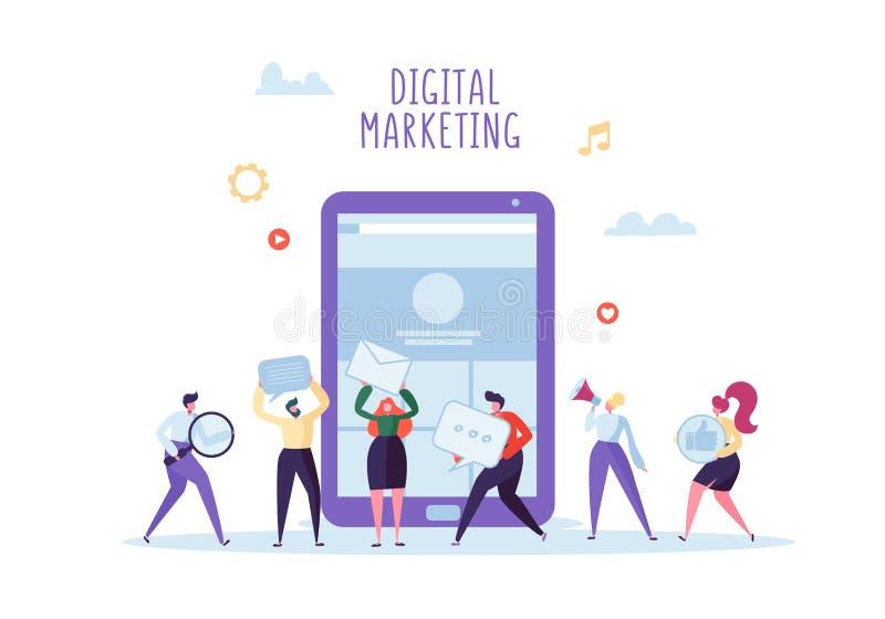 Digitale Marketing, Sociaal Netwerk, SEO Concept Vlakke Bedrijfsmensen die aan Nieuw Websiteproject samenwerken Het werk van het  royalty-vrije illustratie