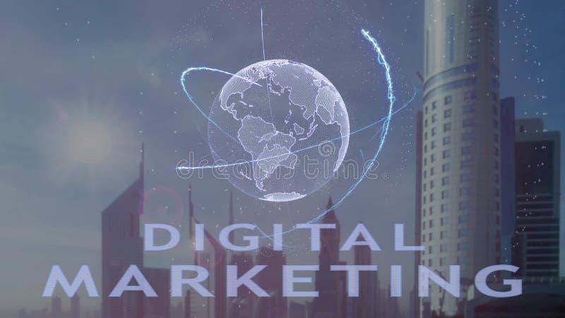 Digitale marketing tekst met 3d hologram van de aarde tegen de achtergrond van de moderne metropool royalty-vrije stock foto