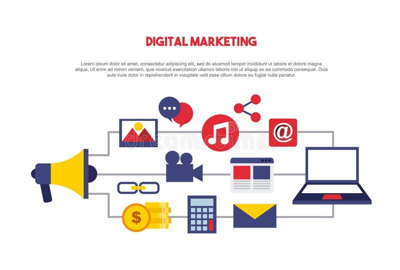 digitale marketing vastgestelde lijnpictogrammen royalty-vrije illustratie