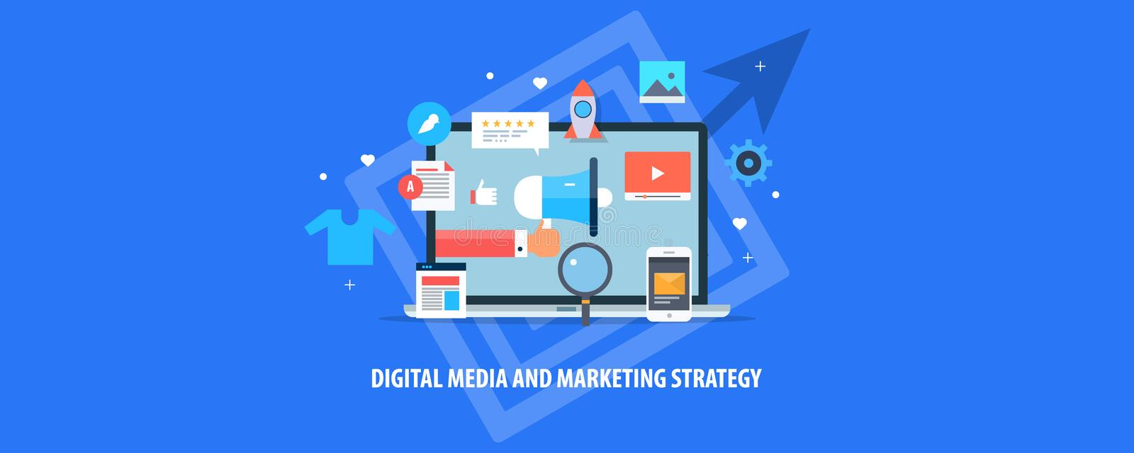 Digitale media, Internet-marketing, inhoudsbevordering, e-mail, mobiele, virale videoinhoud, marketing strategieconcept stock illustratie