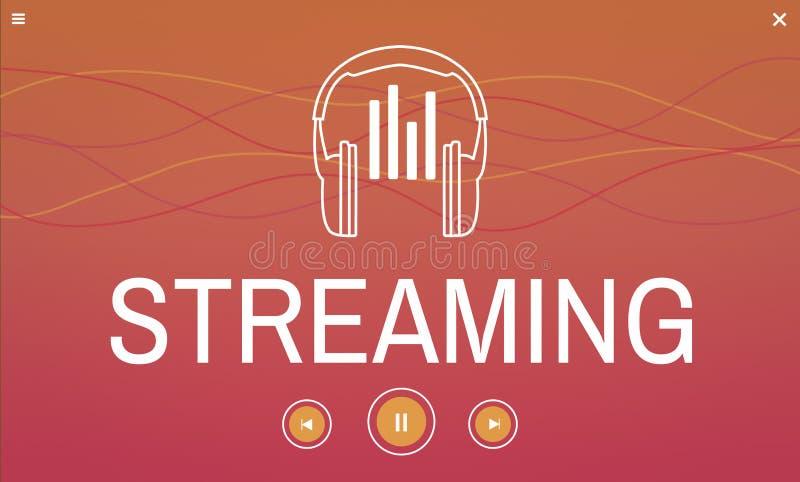 Digitale media muziek die audiovrije tijd stromen vector illustratie