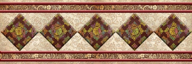 Digitale Mehrfarbenfliesen entwerfen Tanneninnenhaus, oder Keramikfliesen entwerfen, Linoleum, Gewebe, Illustration stockbild