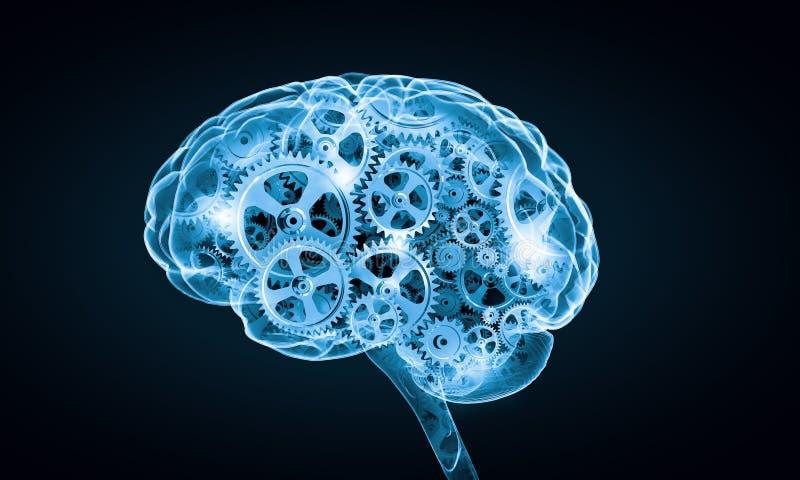 Digitale menselijke hersenen royalty-vrije illustratie