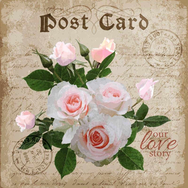 Digitale mit Blumenpostkarte der Weinlese Vektor lizenzfreie abbildung