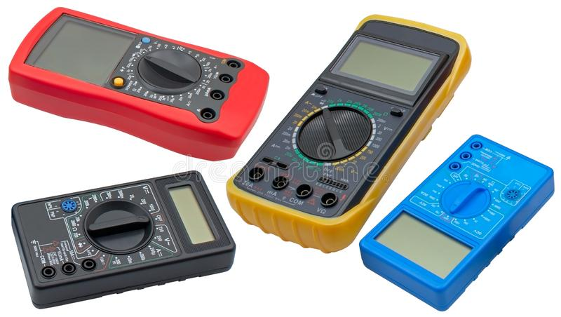 Digitale multimeters op een wit stock fotografie