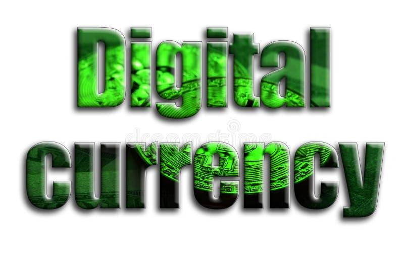 Digitale munt De inschrijving heeft een textuur van de fotografie, die verscheidene bitcoins op een dollar factureert afschildert royalty-vrije illustratie