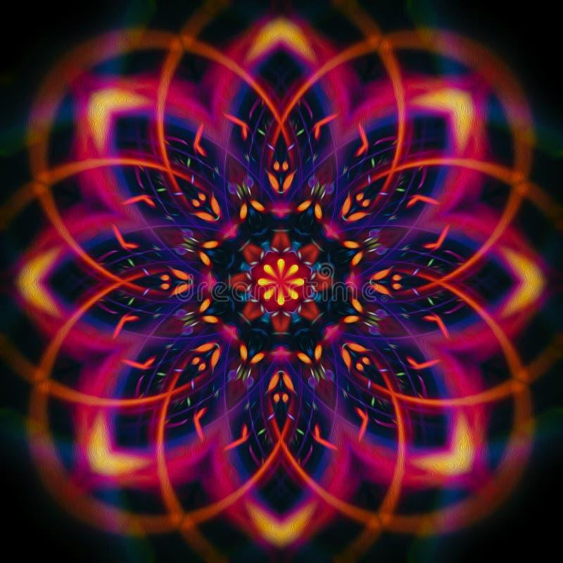 Digitale mysticus gekleurde mandala stock illustratie