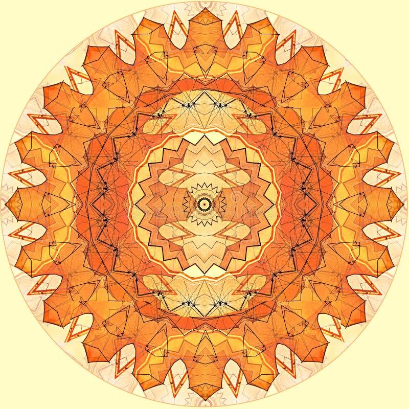 Digitale naadloze het patroon oranje zon van het kunstontwerp op geel vector illustratie
