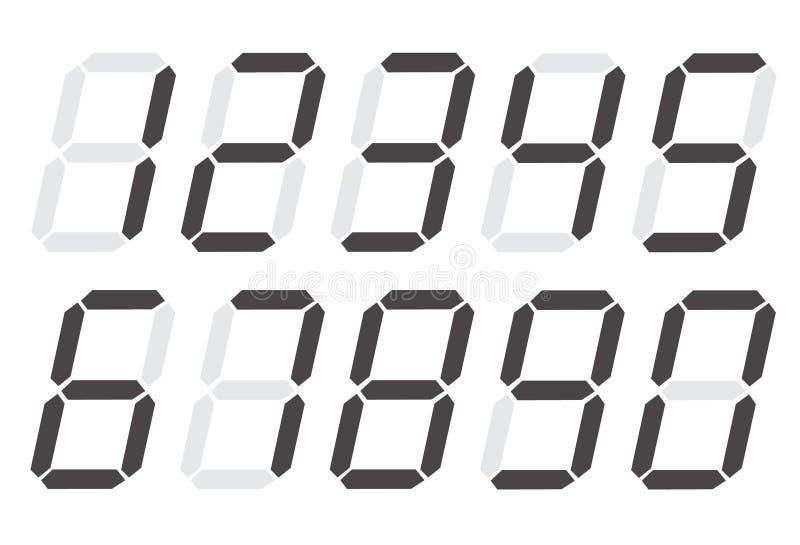 Digitale nummer 0 - 9 op witte achtergrond Vlakke stijl digitaal aantallenpictogram voor uw websiteontwerp, embleem, app, UI Digi stock illustratie