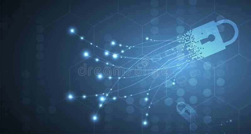 Digitale octopus in de matrijswereld Beveilig bedrijfsinformatie royalty-vrije illustratie